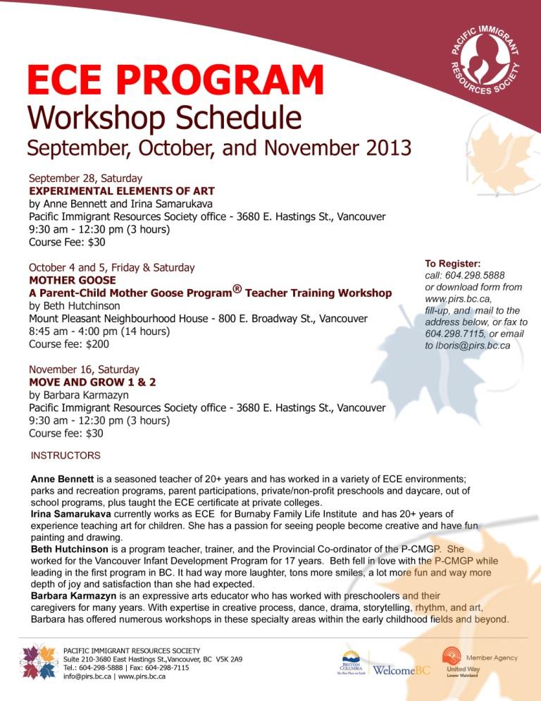 Web ECE Workshop Schedule-Fall 2013